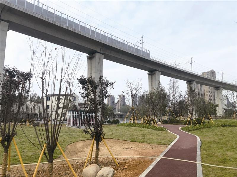 龙湾状元街道轻轨横穿公园 城景相互交融